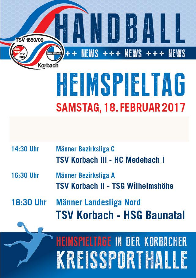 TSV Korbach Handball  - Heimspiele in der Kreissporthalle
